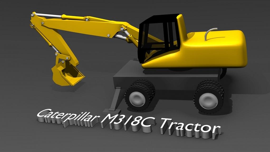 Caterpillar m318c 3D model - Made using Blender